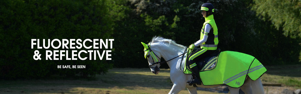 Fluorescent & reflective clothing for the rider and horse rugs and fly hood.