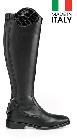 Brogini Livorno Long Boot With Patent Croc Effect Top