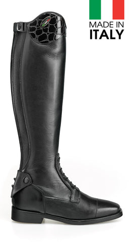 Brogini Arezzo Long Boot With Patent Croc Effect Top
