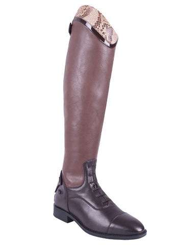 Birgit Snakeskin Long Riding Boots Brown