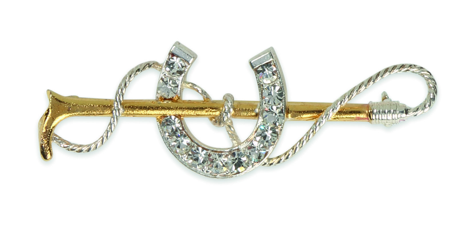 Shires Plated Stock Pin - Gold Crop with Large Diamante Horse Shoe