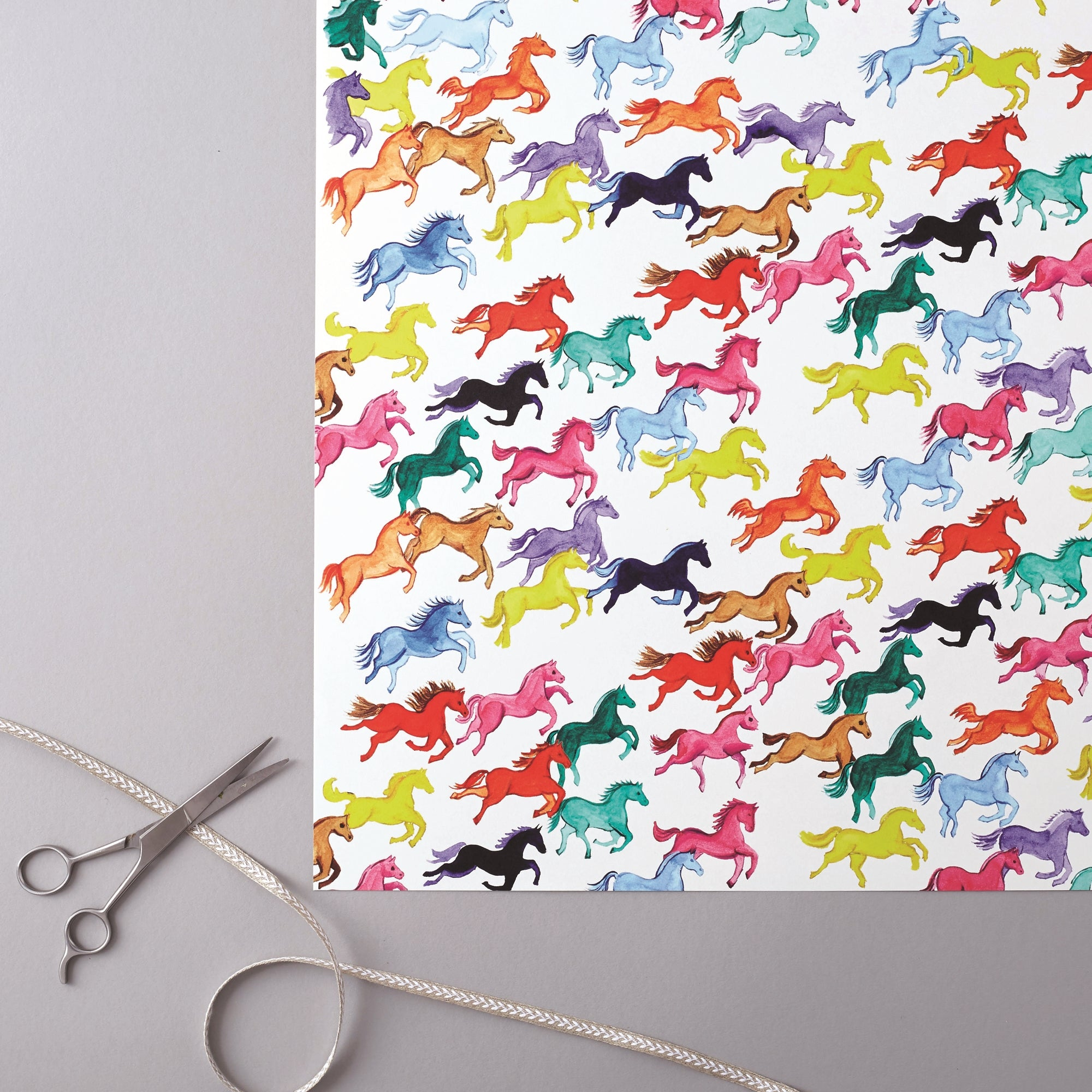 Deckled Edge Prancing Ponies Gift Wrap (2 Sheets)
