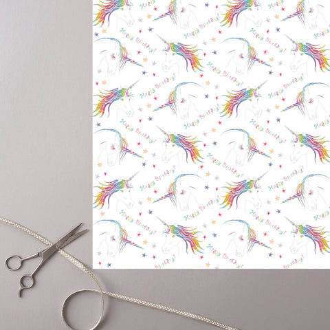 Deckled Edge Unicorn Gift Wrap (2 Sheets)