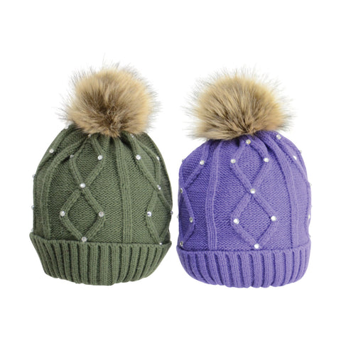 HyFASHION Dakota Diamante Bobble Hat