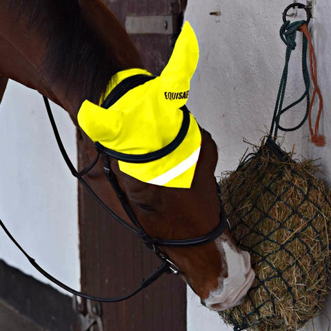 EQUISAFETY Reflective Hi Vis Horse Ear Covers - YELLOW