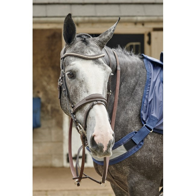 Chicago Perforated Leather Bridle with Bling Browband