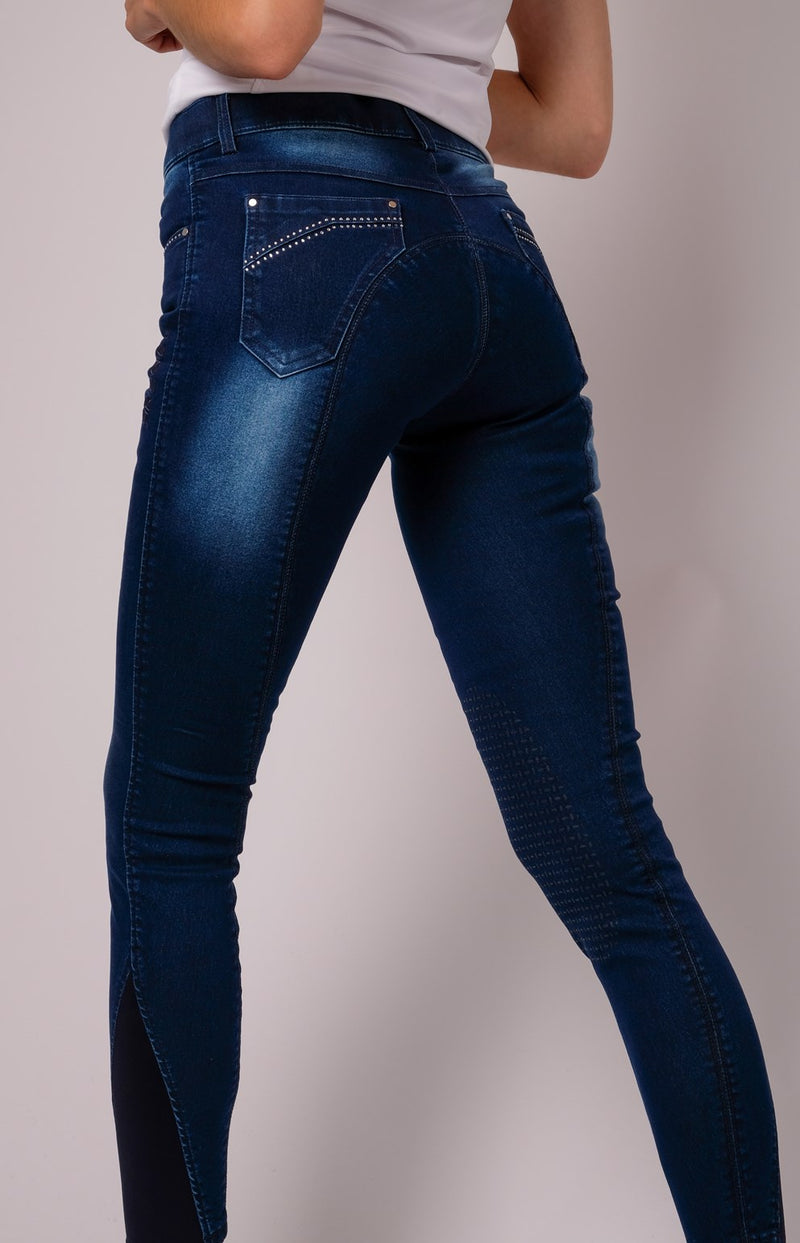 Lina denim crystal pocket Full Grip Leggings