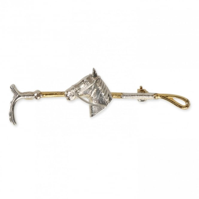 Shires Plated Stock Pin - Gold Crop with Horse Head