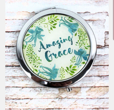 Amazing Grace Floral Compact Mirror