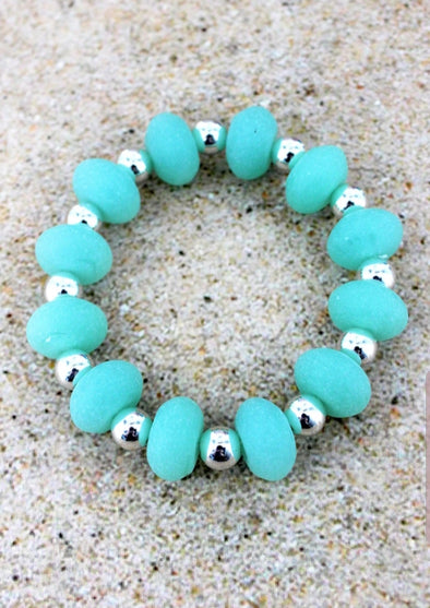 Turquoise Sea Glass Bead Stretch Bracelet