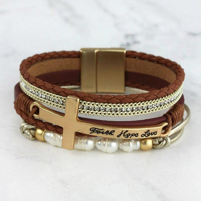 Faith Hope Love Cross Multi-Strand Magnetic Bracelet