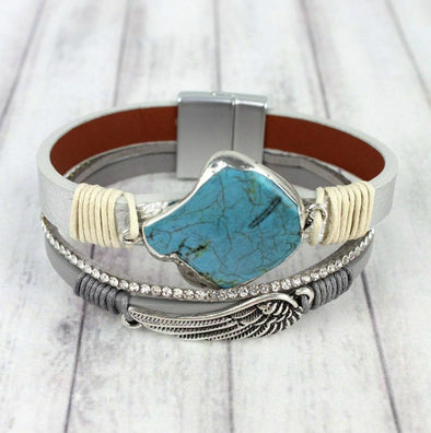Angel Wing and Turquoise Silver Multi-Strand Magnetic Bracelet