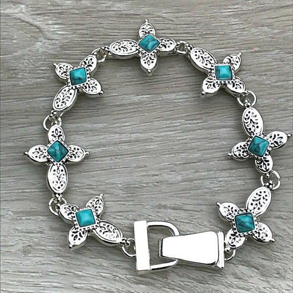 Turquoise Cross Bangle Magnetic Bracelet