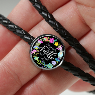 """Walk By Faith""- Pandora Style Charm Bracelet In Leather"