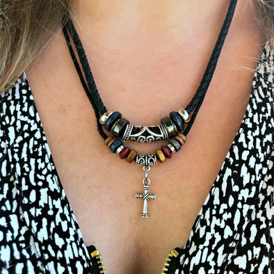 Cross Beaded Leather Necklace