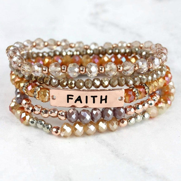 Champagne and Rose Faith Multi-Beaded Stack