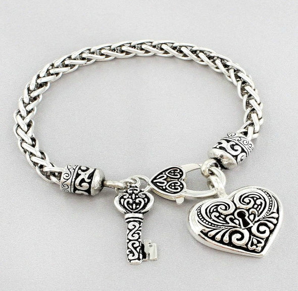 Antiqued Silver-tone Heart Lock & Key Bangle Bracelet