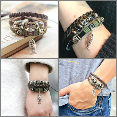 WHOLESALE Deal!  10 Jesus Leather Tie Bracelets Bundle