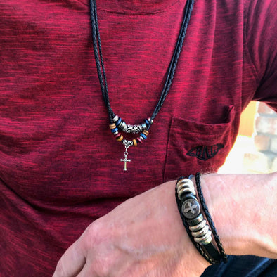 Silver Cross Bead Bracelet-Necklace Combo for Men