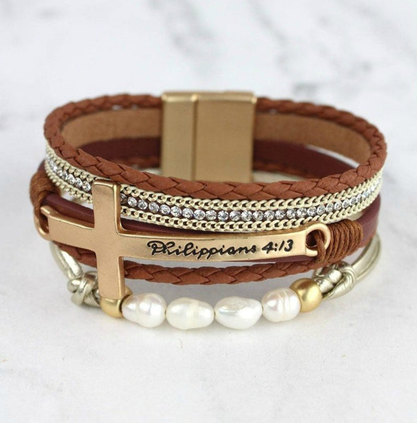 Phil. 4:13 Cross Multi-Strand Magnetic Bracelet