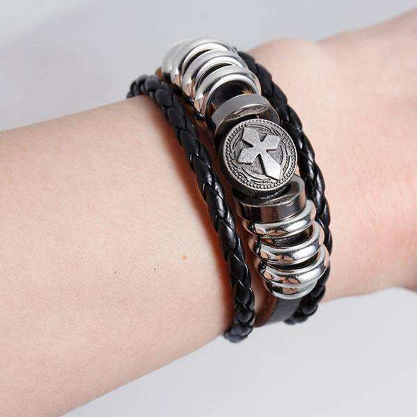 Multilayer Silver Cross Beaded Bracelet (Metal Clasp)