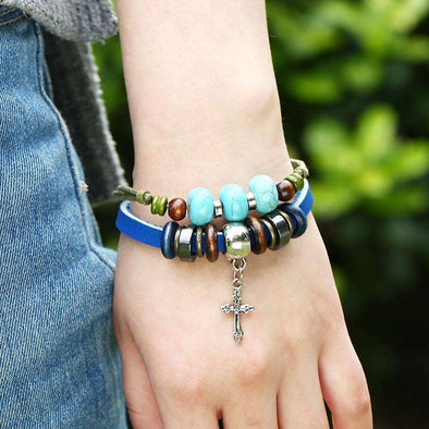 Blue Beads Cross Bracelet (Metal Clasp)