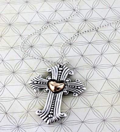 Serenity Prayer Cross and Heart Layered Pendant Necklace