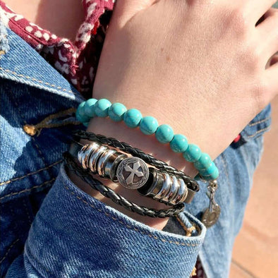 Silver Cross Leather Bracelet and Turquoise Gemstone Stack