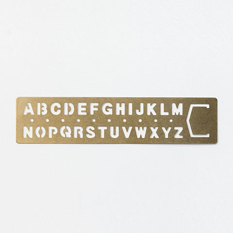 Regla Brass Template Bookmark - Alphabet