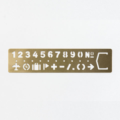 Regla Brass Template Bookmark - Numbers