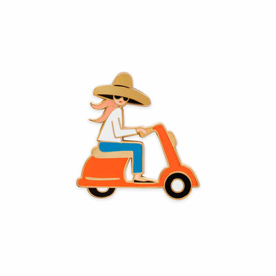 Scooter Girl Enamel Pin
