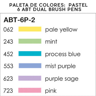 Set de 6 Rotuladores ABT Dual Brush | Colores Pastel, Rotuladores, Tombow - Likely.es
