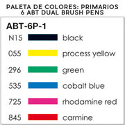 Set de 6 Rotuladores ABT Dual Brush | Colores Primarios, Rotuladores, Tombow - Likely.es