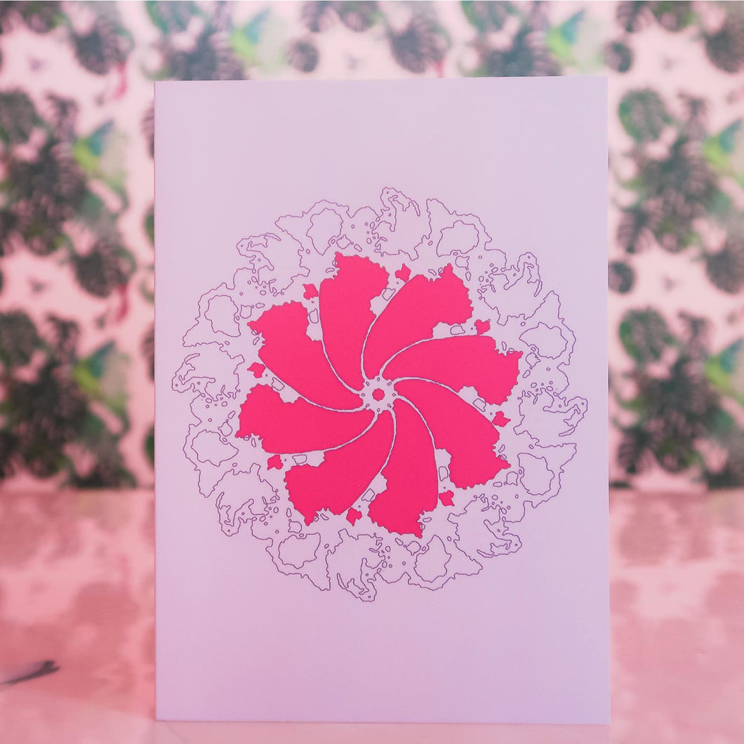 Linear Abstract Card Pink
