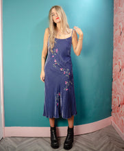 90's embroidered velvet slip dress