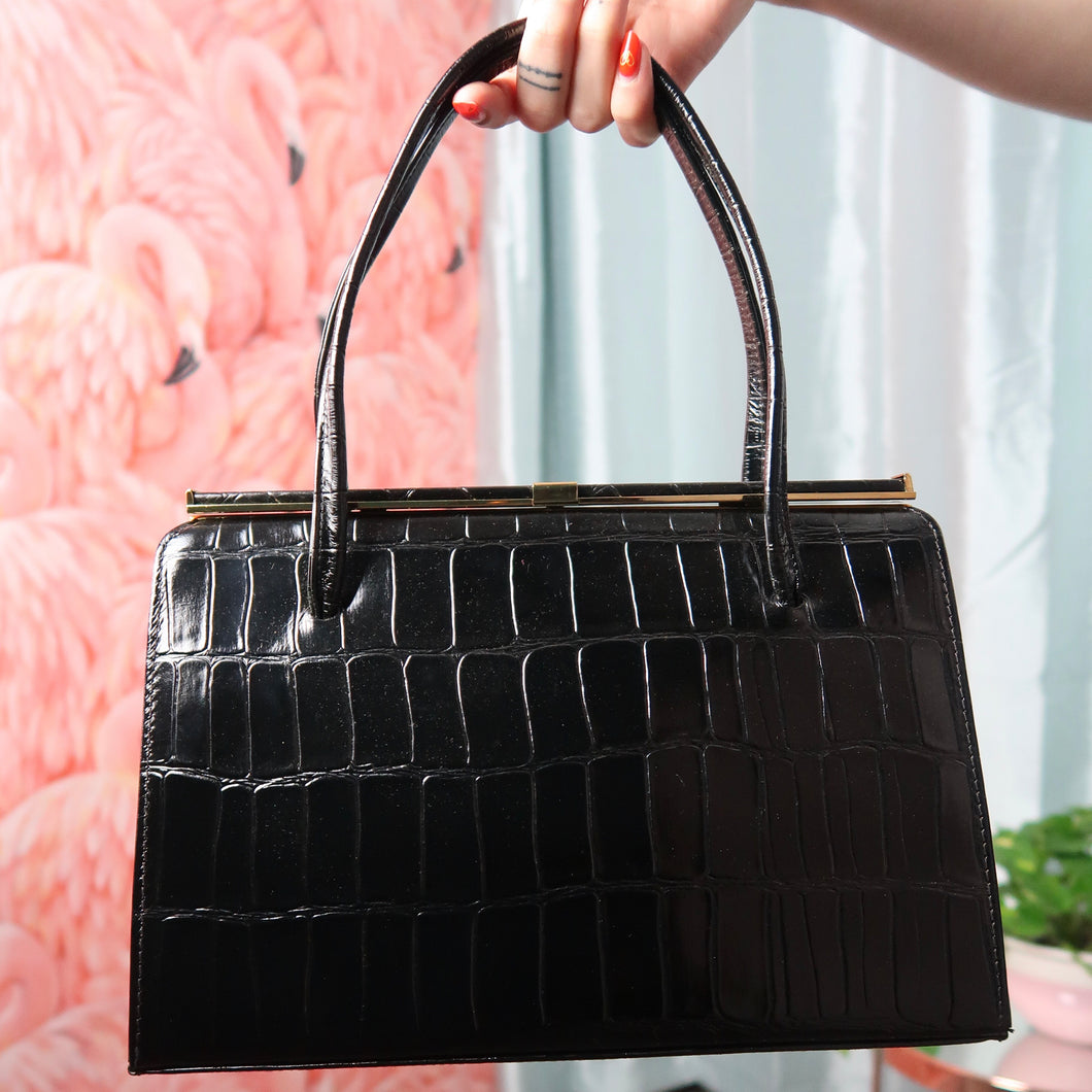 1960's Black leather bag with crocodile effect