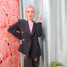 80s pinstripe double breasted blazer