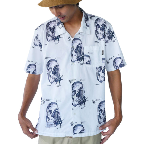 Preduce X SBTG Skull Aloha Short Sleeve Button Up Shirt White