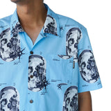 Preduce X SBTG Skull Aloha Short Sleeve Button Up Shirt Baby Blue