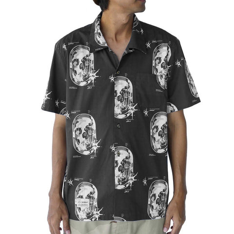 Preduce X SBTG Skull Aloha Short Sleeve Button Up Shirt Black