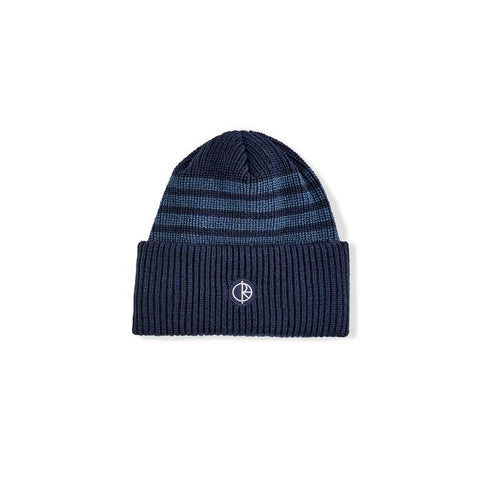 Polar Double Fold Merino Beanie Navy Stripe