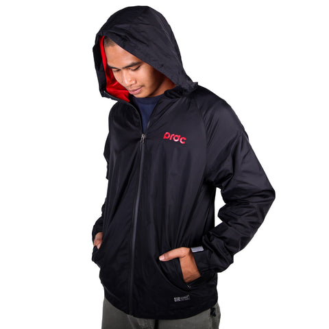 Preduce Windbreaker Jacket Black/Red/3M