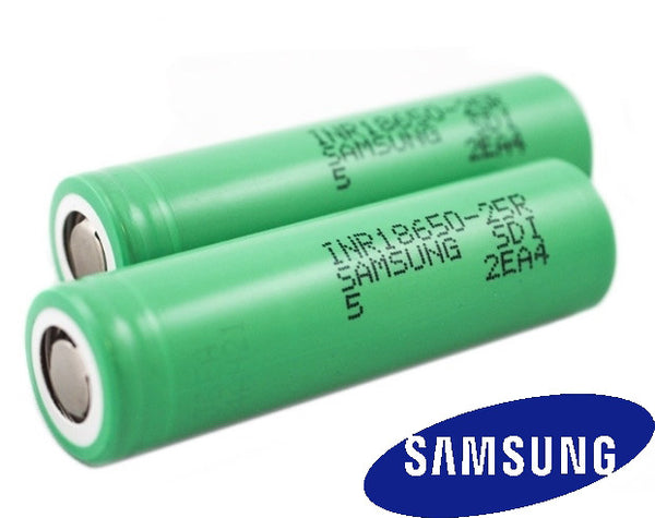 Pair of Samsung 25R Green Li-Ion 18650 Rechargeable Batteries - 3.7 V 2500 mAh Lithium cells