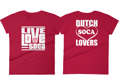 Dutch Soca Lovers x Live Love Soca - Red Womens T-Shirt - Live Love Soca Clothing & Accessories