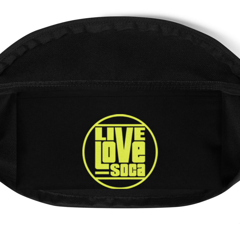 Soca Is Life Black - Neon Yellow Waist Bag - Live Love Soca Clothing & Accessories