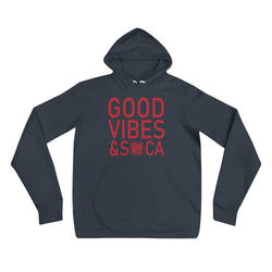 Good Vibes & Soca Blue Womens Hoodie - Live Love Soca Clothing & Accessories