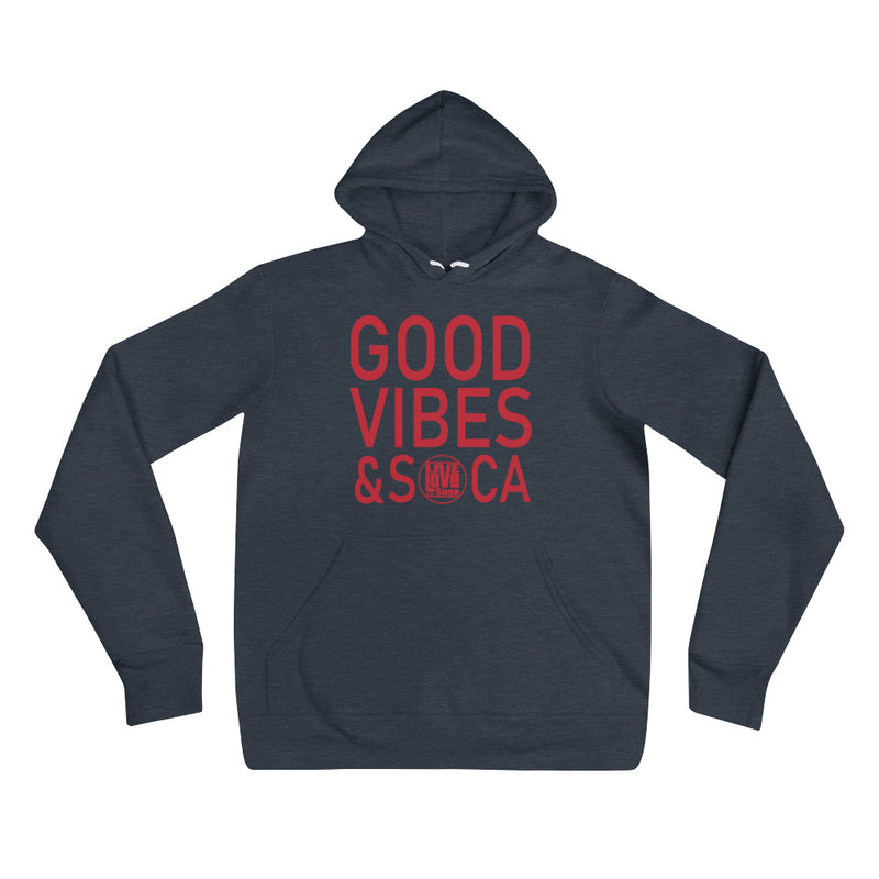 Good Vibes & Soca Blue Womens Hoody - Live Love Soca Clothing & Accessories