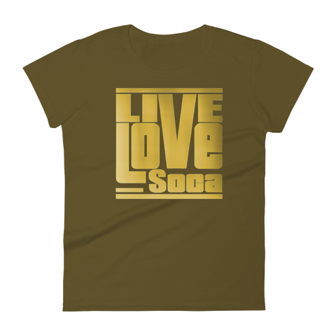 Gold Khaki Army Womens T-Shirt - Live Love Soca Clothing & Accessories