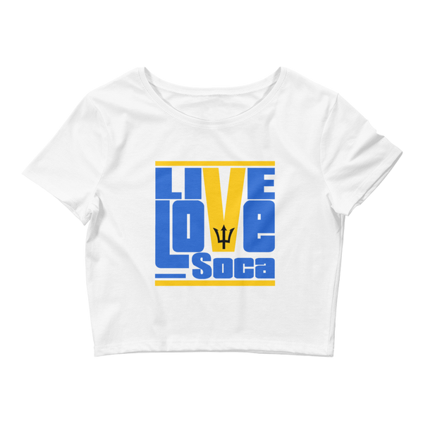 Barbados Islands Edition Womens White Crop Tee - Fitted - Live Love Soca Clothing & Accessories