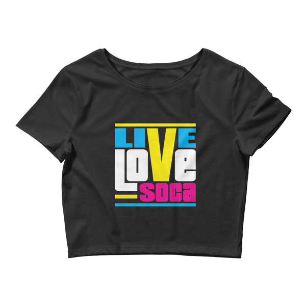 Endless Summer Retro Womens Black Crop Tee- Fitted - Live Love Soca Clothing & Accessories